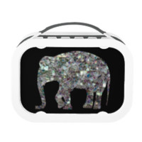 Customize Sparkly colourful silver mosaic Elephant Lunchbox