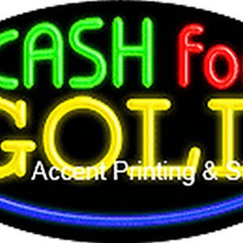 Cash For Gold Flashing Handcrafted Real GlassTube Neon Sign
