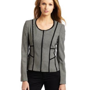 Ak Anne Klein Women`s Novelty Jewel Neck Jacket