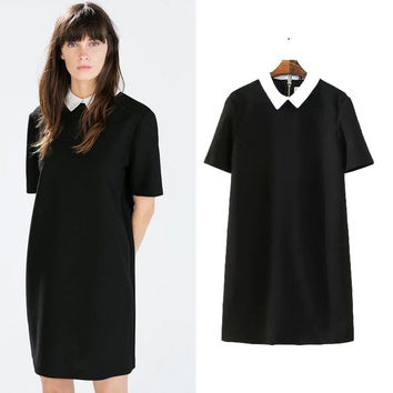 Summer Women's Fashion Shirt Short Sleeve One Piece Dress [5013360260]