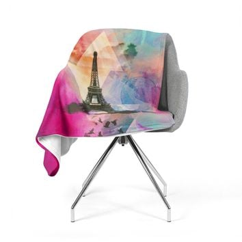 "alyZen Moonshadow ""Eiffel Tower (Deep Pink)"" Pink France Fleece Throw Blanket"