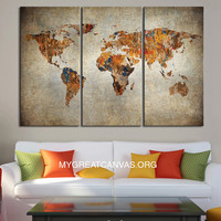 Canvas Print 3 Panel WORLD MAP - 3 Piece Atlas Canvas Art Print - Ready to Hang - Vintage World Map
