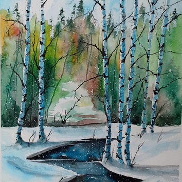 ORIGINAL painting watercolor painting original WATERCOLOR Birch Tree Art