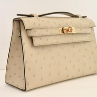New Hermes Kelly Pochette Parchemin Ostrich Clutch Bag Gold Hardware 18yrs eBay