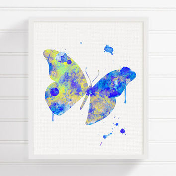 Blue Butterfly Painting, Butterfly Wall Art, Butterfly Print, Baby Girl Nursery, Girls Room Decor, Watercolor Butterfly, Butterfly Poster