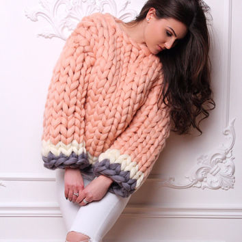 Wool Sweater - Chunky Sweater - Hand knitted sweater - Unique womens sweater -Winter Sweater - Oversized Sweater - Gift Idea - Cute sweaters