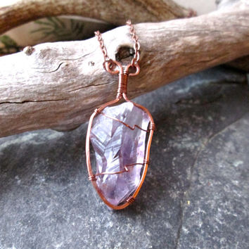 Amethyst Necklace - Wire Wrap Hammered Copper on Raw Amethyst Crystal Point - Copper Iron Chain - Handmade in UK - Boho Wicca Necklace