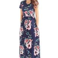 Chicloth Pocket Design Short Sleeve Navy Blue Floral Maxi Dress