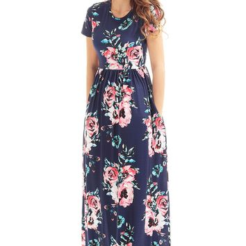 Short Sleeve Navy Blue Floral Maxi Dress With Pockets