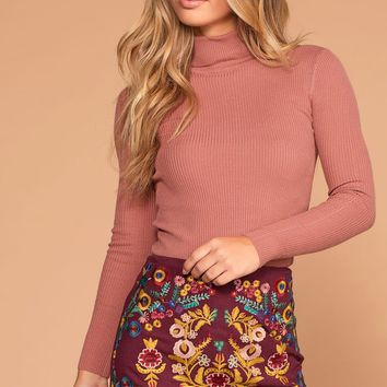 Charleston Turtleneck - Rose
