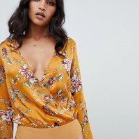 Lipsy fluted sleeve body in floral print at asos.com