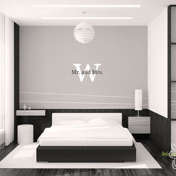 Mr. And Mrs. Monogram Vinyl Wall Decal   Bedroom Living Room Interior Decor  Housewares