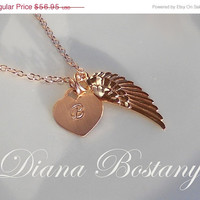 Mothers Day Sale - Rose Gold Angel Wing Charm, Customized Initial Heart Charm,  Memorial Necklace, Keepsake Jewelry, Mothers, Gift