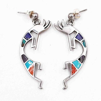 Vintage Teme Sterling Silver Kokopelli Pierced Earrings, Inlaid, Multi-Stone, Flute Player, Dancing, Native American, Nice! #c499