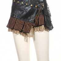 Steampunk Gothic Women Sexy Mini Pu Leather Vintage Skirts W/Pocket