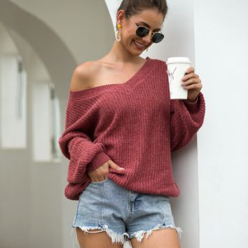 Autumn Fashion Strapless V-Neck Knit Sweater [4258437660769]