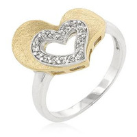 Two-tone Finished Cubic Zirconia Heart Ring, size : 07