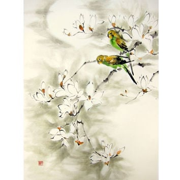 Japanese Ink painting Japanese art Sumi-e Suibokuga Asian art  Flower Birds painting Rice paper Large 20x28' Green Parrots & Magnolia.