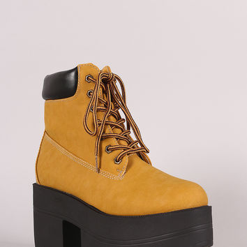 Shoe Republic LA Round Toe Lug Sole Chunky Platform Booties