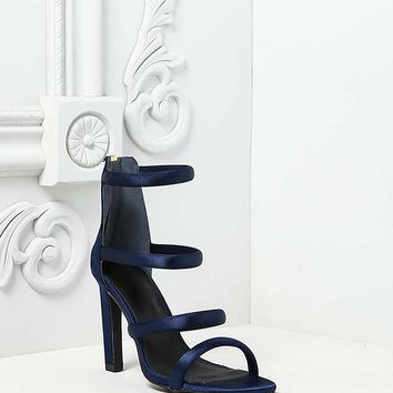 Navy Satin Multi Strap Heels