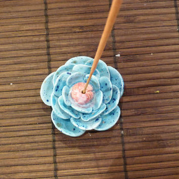 Blue rose incense burner with pink center (MADE TO ORDER)
