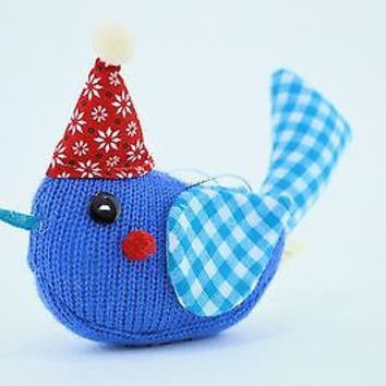 Original Magical Blue Peace Dove Holiday Blessing Ornament in Red Santa Hat