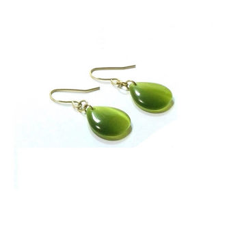 Green Cats Eye  Earrings  ,  14K  Gold Plated Cats Eye Teardrop  Earrings