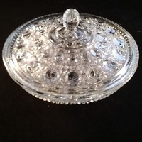 Pressed Glass Candy Dish and Lid