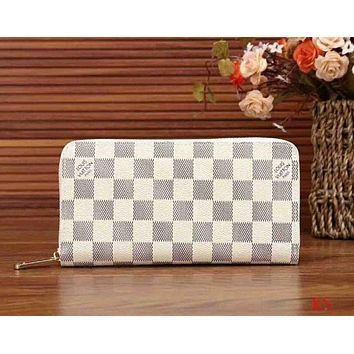 LV Louis Vuitton Classic Retro Women's High Quality Wallet F-LLBPFSH White lattice