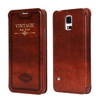 Moon Monkey Classical Retro Multi-angle Vision Cover Stand Slim Case for Samsung Galaxy S5 (Brown)
