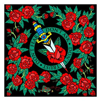 "Women's black floral square silk scarf ""Roses"""