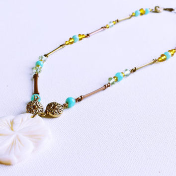 Hawaiian Flower Beaded Necklace - Amber Necklace - Bronze and Copper Jewelry - Island Necklace - Plumeria Flower Pendant - Gifts for Her