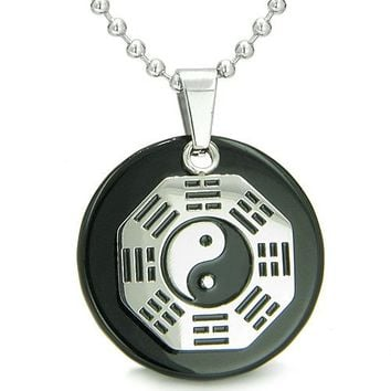 Yin Yang BA GUA Eight Trigrams Amulet Black Onyx Magic Circle Spiritual Powers Pendant Necklace