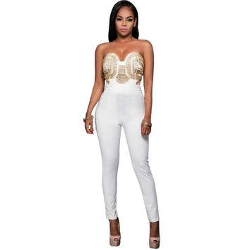 RA80328 FashionWhite Bodysuit Women Off-Shoulder Gold Embellished Strapless Jumpsuits For Women 2016 New Rompers Womens Jumpsuit