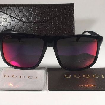 VONEXO9 New Authentic Gucci Shield Square Sunglasses Black Aluminum Purple Orange Mirror