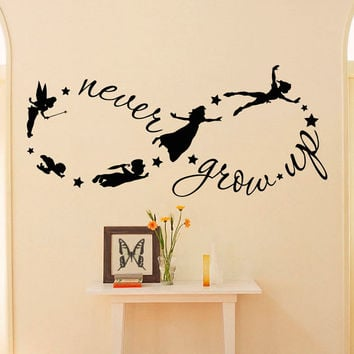 Peter Pan Children Flying Disney Silhouette Never Grow Up Quote Fantasy Fairytale Infinity Symbol- Wall Decals Nursery Decal For Kids Q037
