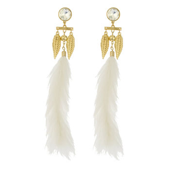 Ladies White Fur Clear Crystal Stone with Goldtone Dangle Feather Charms Post Earrings