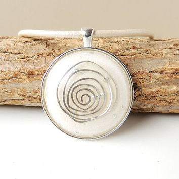 Cream & Silver Necklace, Resin Pendant Cream Leather Necklace, Statement Necklace, Resin Jewelry,  Silver Spiral Quirky Jewellery, UK (1744)