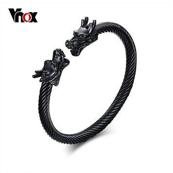 Vnox Men's Double Dragon Heads Charm Cuff Bracelet Bangle Adjustable Punk Stainless Steel Male Bracelet USA Shipping Directly