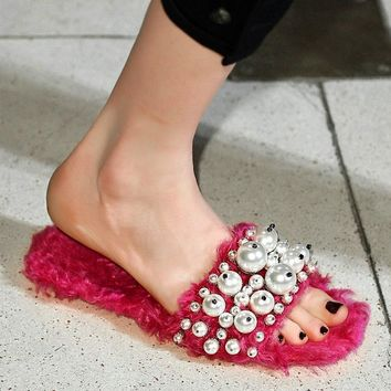 New fashion brand solid pearl flat with women Slides wool hollywood star peep toe sand