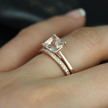 Gallina 6mm & Hollie 14kt Rose Gold Princess Morganite and Diamond Wedding Set (Other metals and stone options available)