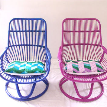 Made to Order - BELLADONNA - Electric Blue Cane Vintage Chair with Vintage Chevron Cushion