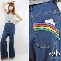 Vintage 70s High Waisted Rainbow Jeans 30 High Waisted Jeans High Waist Jeans 70s Jeans Hippie Jeans Hippy Jeans Vintage Bell Bottoms