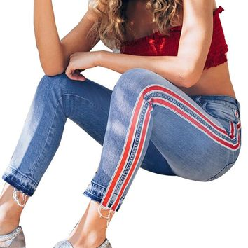 High Waist Ripped Jeans Of Women Spring Pants Capris Side Strip Ankle-Length Stretch Slim Jeans Pants Female