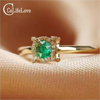 CoLife Jewelry Luxurious emerald ring 4 mm 0.3 ct natural emerald silver ring solid 925 silver gemstone ring for engagement