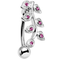 Pink Gem Stainless Steel Creeping Vine Top Mount Belly Ring | Body Candy Body Jewelry