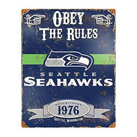 Party Animal NFL Embossed Metal Vintage Seattle Seahawks Sign