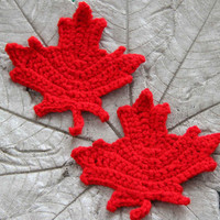 SALE Maple leafs coasters (set of 2) / crocheted maple leaf coasters / choice of colours