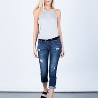 Slightly Distressed Capri Denim Jeans