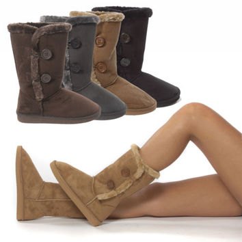 Women Button Faux Suede Fur Winter Snow Shearling Mid Calf Flat Boot Shoe US5-10